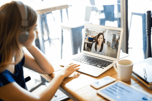 Woman on a online video call